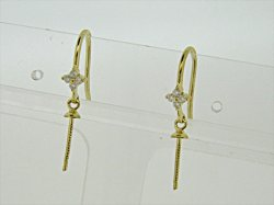 Photo1: K18YG DIA EARRING