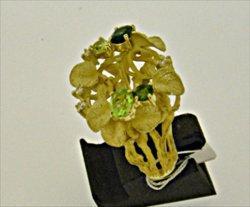Photo2: K18YG GREEN TOURMARINE/PERIDOT/DIA RING