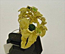 Photo3: K18YG GREEN TOURMARINE/PERIDOT/DIA RING