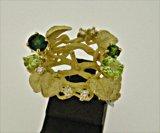 K18YG GREEN TOURMARINE/PERIDOT/DIA RING