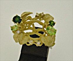 Photo1: K18YG GREEN TOURMARINE/PERIDOT/DIA RING